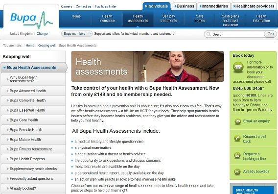 capture d'écran du site bupa